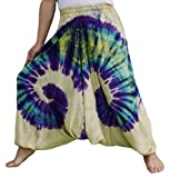 Loong Cha's Women Tie Dye Pants Baggy Aladdin Hippy Harem Adjustable Waist (Brownish Yellow),Free Size
