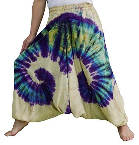 Loong Cha's Women Tie Dye Pants Baggy Aladdin Hippy Harem Adjustable Waist (Brownish Yellow),Free Size