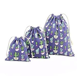 itemer 3tamaños zapatos de algodón de colores cordón bolsas Natural con cordón bolsa de mochila Schoolbag Bolsa deporte gimnasio bolsillo 3piezas (azul)