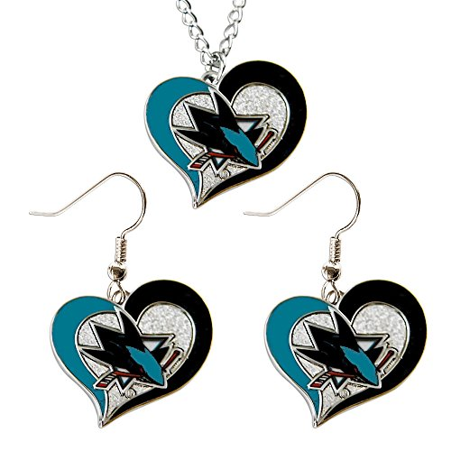 NHL San Jose Sharks Swirl Heart Necklace and Earring Set Charm Gift (San Jose Costume)