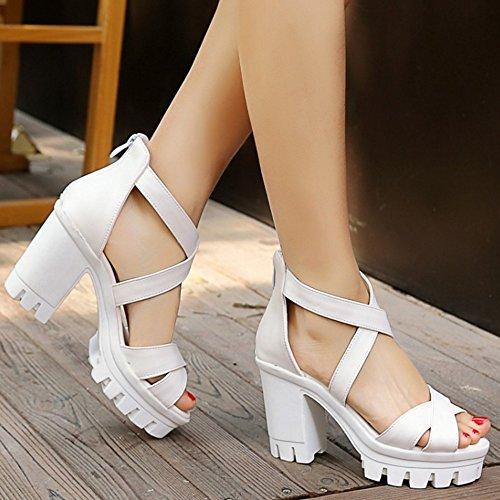 RAZAMAZA Mujer Plataforma Tac¨®n Grueso Sandalias Cross Strap Chunky Tacones Zapatos Negro
