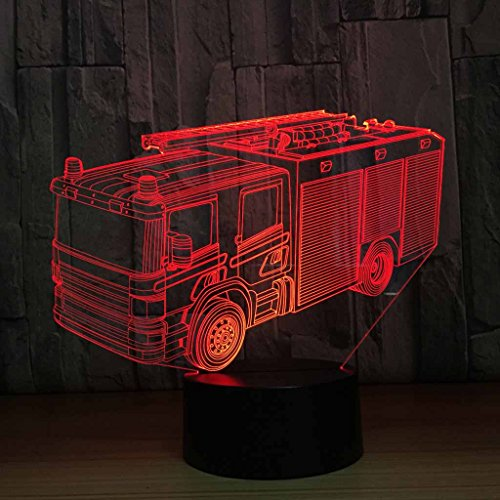 YXYH Carga USB 7 Creatividad de Cambio de Color Efecto de ilusión 3D Luz de Noche de camión de Bomberos, Regalos de...
