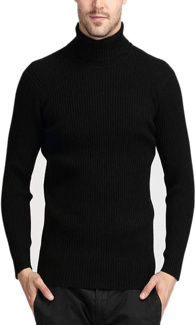 Men Turtleneck Sweater Winter Thick Warm Cashmere Slim Wool Knitwear Pullover