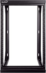 NavePoint 15U Wall Mount IT Open Frame 19 Inch Rack with Swing Out Hinged Gate Black