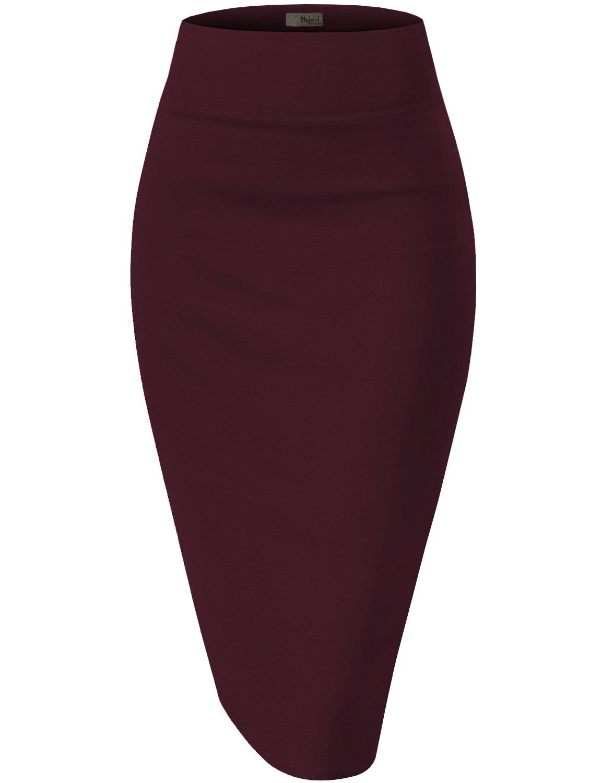 HyBrid & Company Womens Premium Stretch Office Pencil Skirt KSK45002 Wine Large