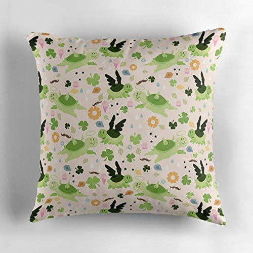 Biekxrso Lucky Green Turtle Pattern Throw Pillow Cover Home Decorative Throw Pillow Case Couch Cover Decoration,18 X 18 Inch for Home Sofa Bedding ()