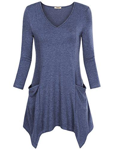 Timeson Womens V-Neck Asymmetrical Hem Tunic Top Pockets
