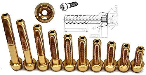 Titan Schraube golden M6 x 16-18-20-22-25-26.5-30-35-40-45 hohl konisch T30