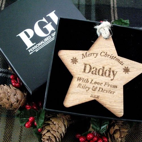 Dad Wooden Star Daddy Wooden Gift Daddy Christmas Decoration