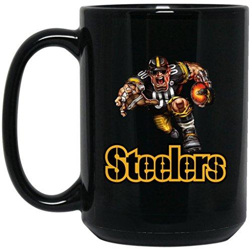 (Pittsburgh Steelers Coffee Mug | Player Steelers Mug | 15 oz Black Ceramic Mug Cup Great For Tea & Hot Chocolate | NFL AFC National Football League | Perfect Unique Gift Idea For Any Steelers Fan!)