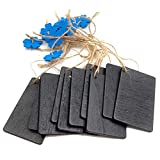 Healifty 10pcs Wooden Tags Squeare Flower Gift Tags Mini Chalkboards Signs Cookie Present Package Wrap Label for Wedding Party Supplies (Blue)