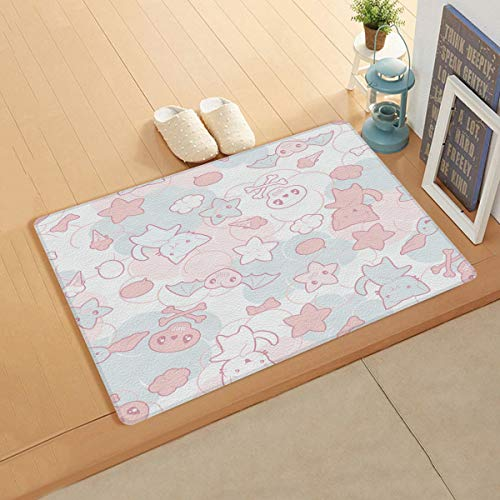 Leather Kitchen Mat, Waterproof Non-Slip Easy Care Premium Anti-Fatigue Stain Resistant Rug for Home and Office- Cute Five-Pointed Star Cat Skull Cartoon Wallpaper 24