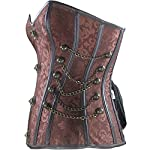 Burvogue Women Steampunk Corset Steel Boned Gothic Bustier 7