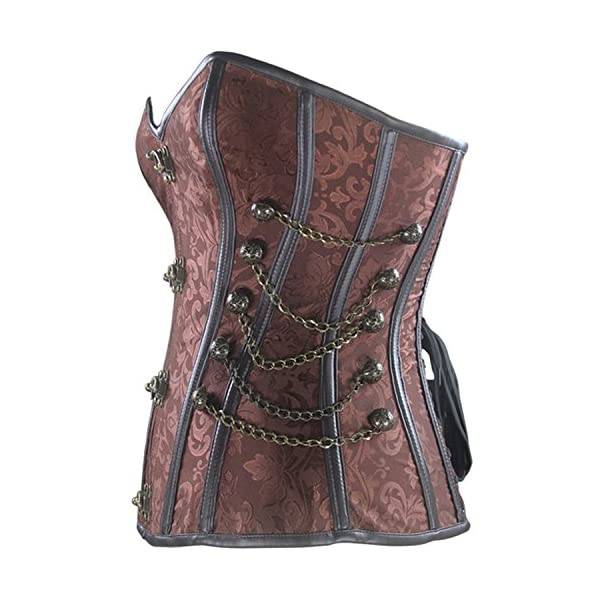Burvogue Women Steampunk Corset Steel Boned Gothic Bustier 4