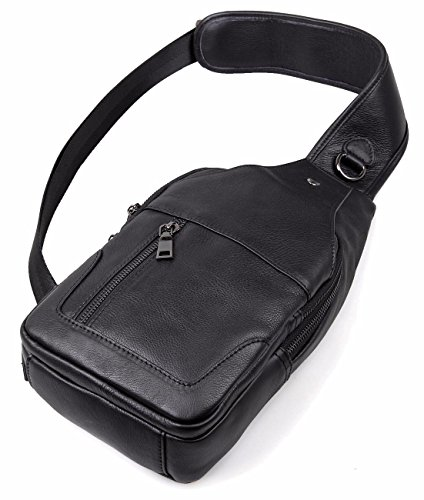 Top Everdoss For Unbalanced Men Sling Chest Bag Leather Backpack Black Bags Genuine Camping Travelling q6xAaS