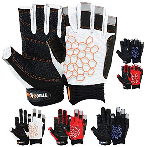 MRX BOXING & FITNESS Sailing Gloves Sticky Palm Gripy Glove Yachting Kayak Dinghy Fishing Short Finger Multi Colors (Black/White/Orange, M)