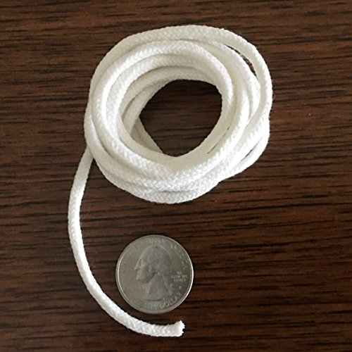 Firefly Brand - 5 Feet of 3.6mm Round Braided Cotton Replacement Wick for Oil Lamps and (Oil Pillar Candle)