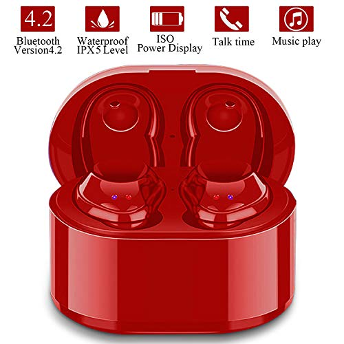Wireless Earbuds, True Wireless Stereo Earphones Sports Mini Bluetooth 4.2 Cordless Headset In Ear Car Headphones with Mic,Charging Box compatible with iPhone iPad Android Smartphones Tablet -Red