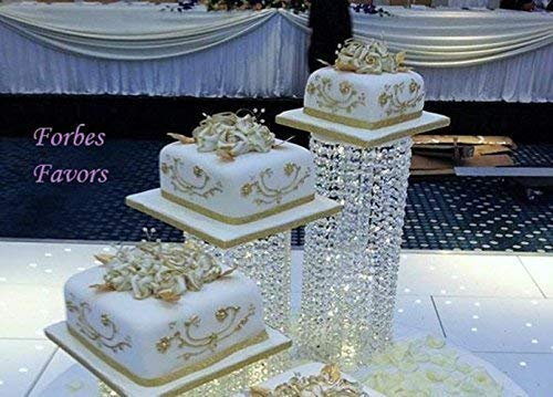 "Forbes Favors TM Set of 4 Acrylic Crystal Chandelier Cake Stand Asian Style With Battery LED Lights Wedding Cake, Anniversary or Special Occasion (Diameters 6"", 6"", 8"" 8"")"