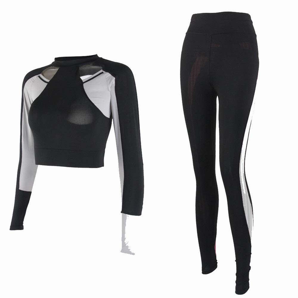 Ladies Fitness Training Set Outfit Women's Sports Suit 2pc Sets Long Sleeve Coat+ Leggings Elasticity Fitness Suits for Yoga Running Activities for Gym Running Yoga Gym (Size   M)