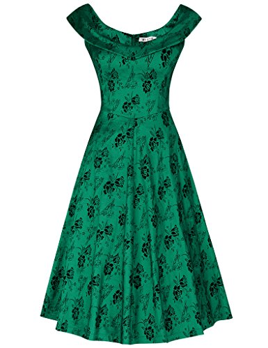 MUXXN Lady's Retro Peter Pan Collar Pattern Formal Dress (S New Green)