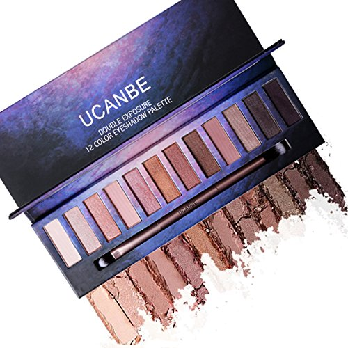 Professional Matte Shimmer Eye Shadow Palette - 12 Highly Pigmented Naked Neutral Natural Nude Shades with EyeShadow Blending Applicator Ucanbe (edition 3) (Korean Tattoo Sticker)