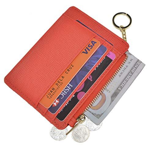 Womens Slim RFID Credit Card Holder Mini Front Pocket Wallet Coin Purse Keychain (Crosshatch ()