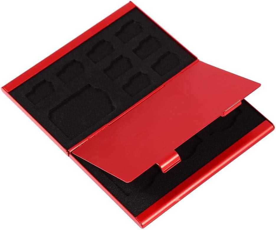 Black 12 Slots Portable Aluminium Sim Card Case Box for Micro SD Card and TF Card Holder