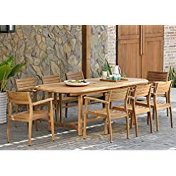 Garden and Outdoor Amazonia Coventry 9-Piece Oval Patio Dining Set Certified Teak | Ideal for Outdoors, Light Brown patio dining sets