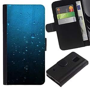 Protector de cuero de la PU de la cubierta del estilo de la carpeta del tirón BY RAYDREAMMM - Samsung Galaxy S5 V SM-G900 - Gotas de agua