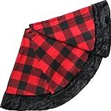 X.Sem 36'' Plaid Christmas Tree Skirt with Faux Fur Border Christmas Ornament Buffalo Check (36 inch)