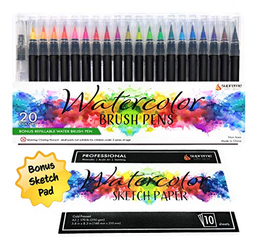 Watercolor Brush Pens Set, 20 Color Markers + Bonus Sketch Pad & Refillable Water Pen, Soft Tip for Art, Drawing, Coloring Page, Calligraphy, Sketching and Paint Effects, Non-Toxic, Water ()