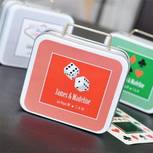 Personalized Suitcase Favor Tins - A Lucky Pair Personalized Vegas Suitcase Tins - Total 48 items