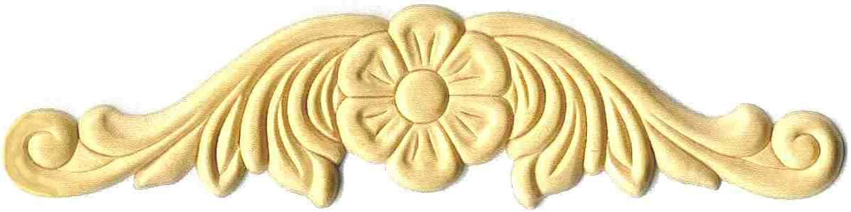 "UNIQANTIQ HARDWARE SUPPLY Flower Horizontal Birch Wood Applique - 7-7/8"" X 1-7/8"" - Onlay Antique & Modern Furniture Doors, Walls Carved Ornamental Decor | G10-B120"