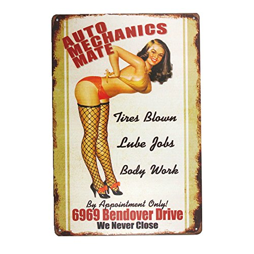 DL-AUTO MECHANICS MATE Sign garage signs for men Home Decor pin up poster house rules wall art decor