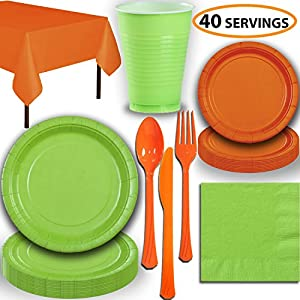 Disposable Party Supplies, Serves 40 - Lime Green and Orange - Large and Small Paper Plates, 12 oz Plastic Cups, heavyweight Cutlery, Napkins, and Tablecloths. Full Two-Tone Tableware Set