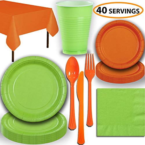 Disposable Party Supplies, Serves 40 - Lime Green and Orange - Large and Small Paper Plates, 12 oz Plastic Cups, Heavyweight Cutlery, Napkins, and Tablecloths. Full Two-Tone Tableware -