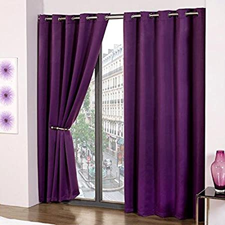 Purple Thermal Blackout Supersoft Eyelet Ring Top Ready Made Curtains 46quot Wide X 54quot