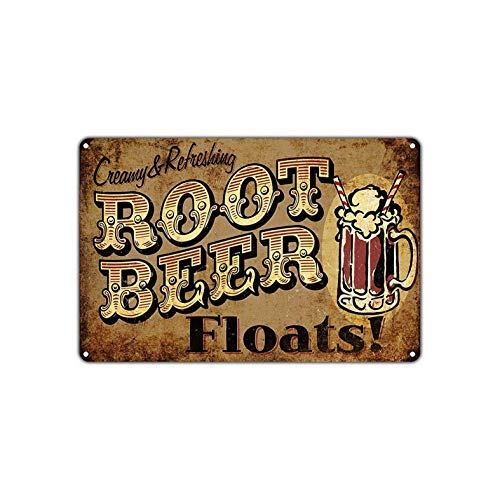 KPSheng Creamy Refreshing Root Beer Floats Retro Vintage Retro Metal Wall Decor Art Store Man Cave Bar Garage 8x12 Sign ()