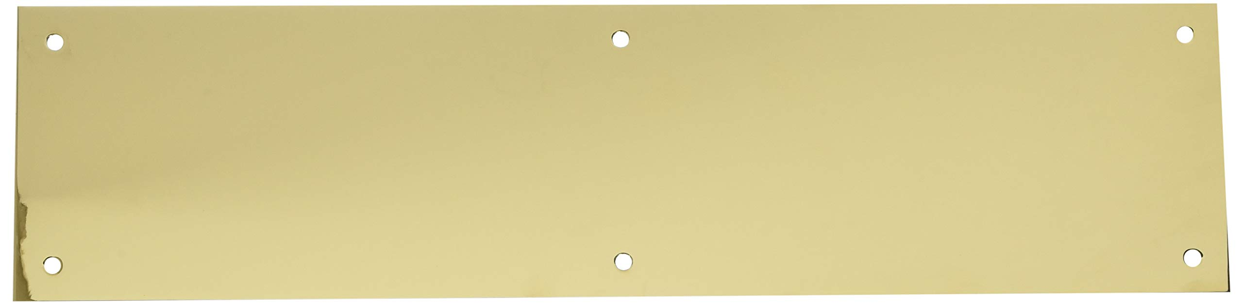 Baldwin 2124 4 Inch x 16 Inch Solid Brass Square Edge Push Plate, Polished Brass