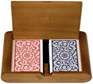 Copag Wooden Box Set with 1546 RB Regular Index and Narrow Bridge Size 100% Plastic Playing Cards