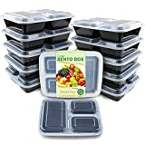 Enther Meal Prep Containers [12 Pack] 3 Compartment with Lids, Food Storage Bento Box   BPA Free   Stackable   Reusable...