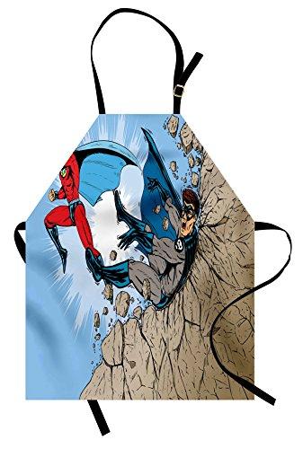 Lunarable Superhero Apron, Old School Comic Book Hero and Villain on The Rocks Punching Kicking Cartoon, Unisex Kitchen Bib Apron with Adjustable Neck for Cooking Baking Gardening, Multicolor]()