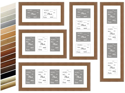 MDF Basic Picture Frames with Mat for Photos 10 x 15 cm hoch - 3 x 10 x 15/1030 Brown (Brown-rahmen)