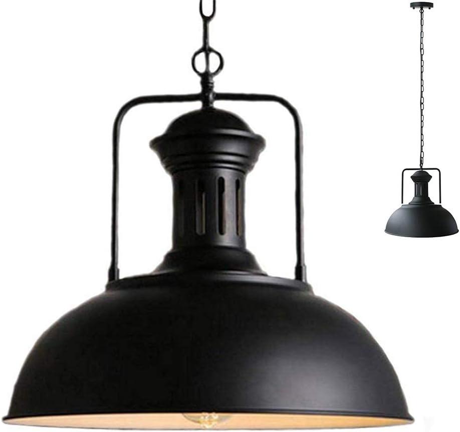 Vintage colgante granero Metal Industrial luz lámpara sombra antiguo recipiente en forma de hierro forjado ajustables cadenas techo luz araña (Negro, 42CM)