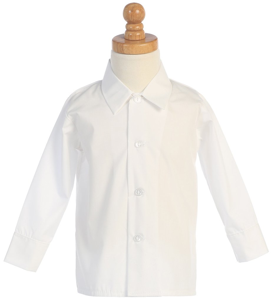 Boys Infant Toddler Child White Long Sleeved Simple Dress Shirt - 3T