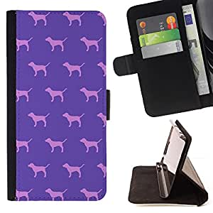 For Sony Xperia Z5 5.2 Inch Smartphone Dog Purple Pink Pattern Wallpaper Style PU Leather Case Wallet Flip Stand Flap Closure Cover