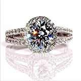 2.00 carat VVS1 NSCD Round Diamond Enagagement Ring in 18k Gold over silver OR 10k Solid Gold