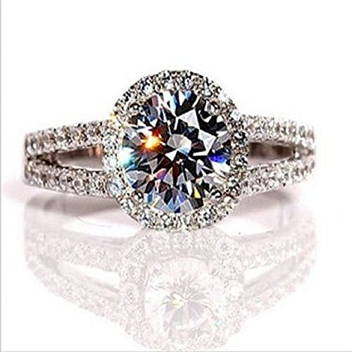2.00 Carat VVS1 NSCD Diamond Engagement ring in 18k gold over silver H&H 53029