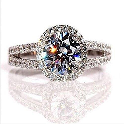 Verlobungsring / Diamantring, 2,00Karat, VVS1,NSCD, 18K Gold über Silber